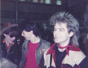 Mike Peters At Heathrow Airport with Rob Bevis. May 30th 1983