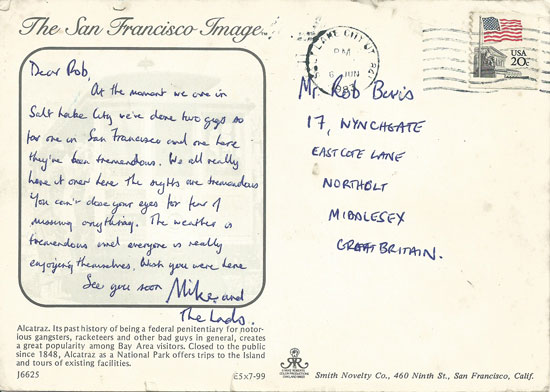 Postcard sent to Rob Bevis by Mike Peters June 1983